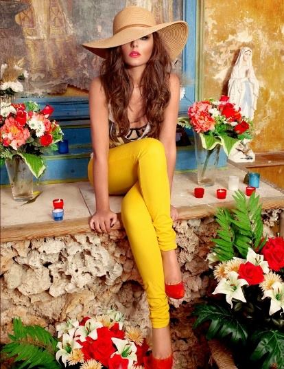 girl yellow pants