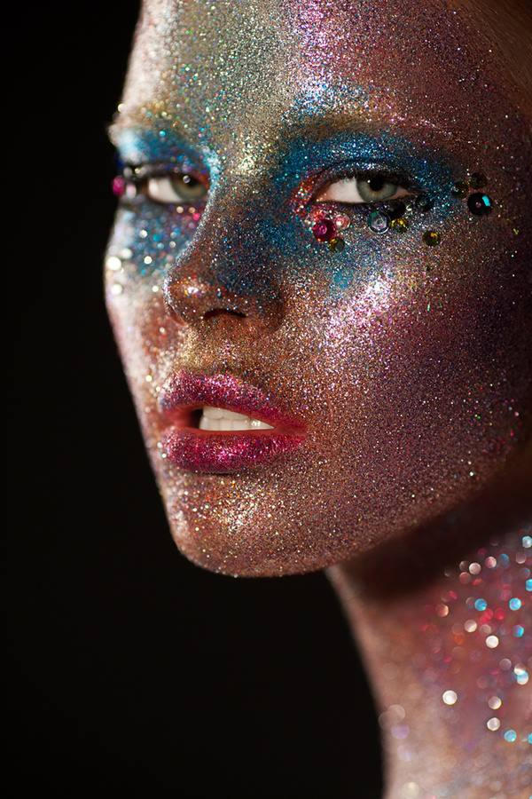 girl sparkle face
