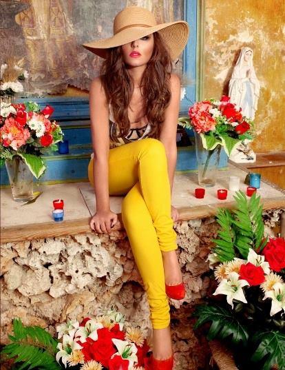 girl yellow pants