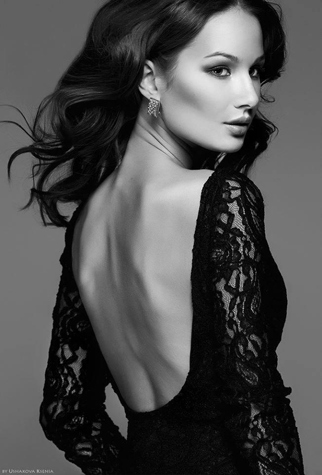 girl black low back dress