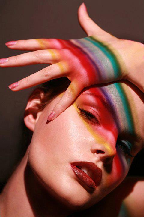 girl rainbow hands